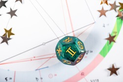 Astrology Dice with zodiac symbol of Gemini May 21 - Jun 20 on Natal Chart Background