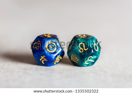 Astrology Dice with zodiac symbol of Leo Jul 23 - Aug 22 and its ruling celestial body the Sun #1335502322
