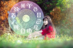 Astrology in summer with beautiful girl and Zodiac wheel. Astrological zodiac signs inside of horoscope circle. The power of the universe concept.