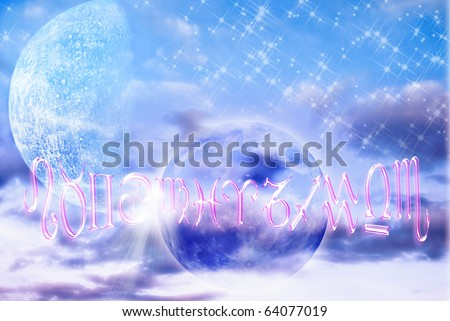 astrology represented by planets, symbols of zodiac over bright blue sky with stars - stock photo
