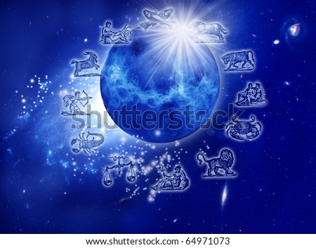 astrology represents by the planet Venus with stars, rays of light and symbols of zodiac over starry Universe