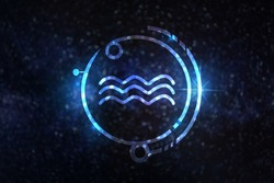 Astrology sign Aquarius against starry sky
