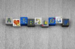 Astrology - sign or design for horoscopes, the zodiac and star signs, in letters and symbols.