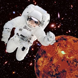 Astronaut and alien planet in deep space. The elements of this image furnished by NASA.