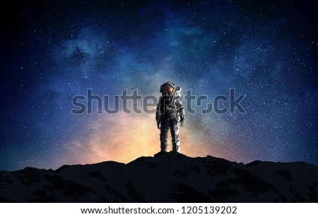 Astronaut and his mission. Mixed media