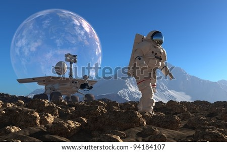 Astronaut and moonwalker on the planet.