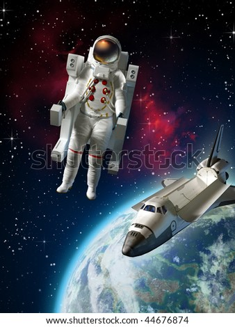 Astronaut and space shuttle exploring space near planet Earth. Digital illustration