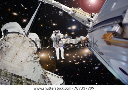 Astronaut and spaceship in deep space. The elements of this image furnished by NASA.