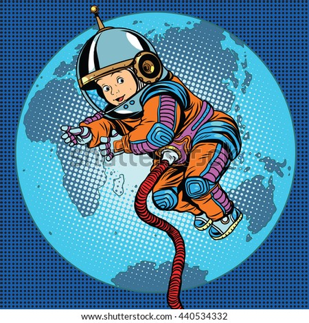 Astronaut baby Earth space. Earth day, ecology and life on the planet pop art retro #440534332