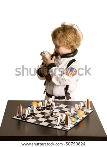 astronaut boy play Teddy Bear on white background