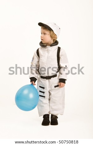 astronaut boy with blue balloon on white background