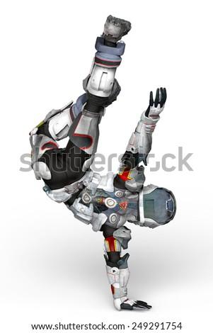 Stock Photo astronaut break dance back view