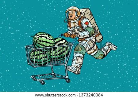 Astronaut buys watermelons. shopping cart trolley sale. Pop art retro  illustration vintage kitsch