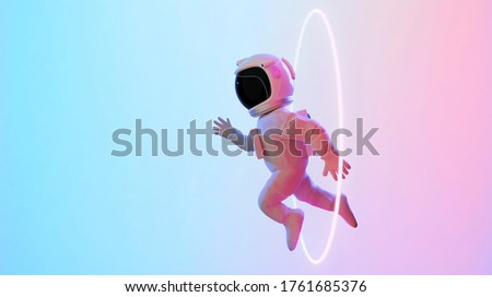 Astronaut escape from the void. Abstract psychedelic science fiction and astronomy surreal background. Side angle view. 3D rendering. Clipping path include. Stockfoto ©