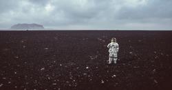 Astronaut exploring a new planet. Scifi-fiction concept about space exploration