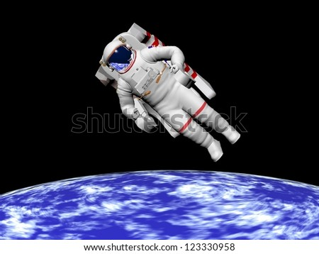 Astronaut floating in black background for space and looking at the earth -  - Elements of this image furnished by NASA