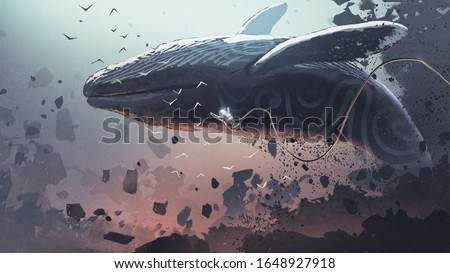 astronaut floating near the fantasy whale that jumping out of the rock, digital art style, illustration painting
