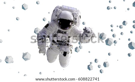 astronaut flying between geometric objects (3d illustration, elements of this image are furnished by NASA)