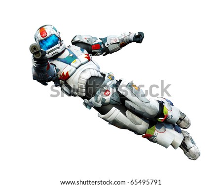astronaut hero jumping with a gun