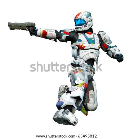 astronaut hero with a gun kneel