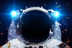 Astronaut in outer space against the black hole. Elements of this image furnished by NASA.