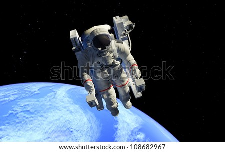 Astronaut in outer space in the chair.