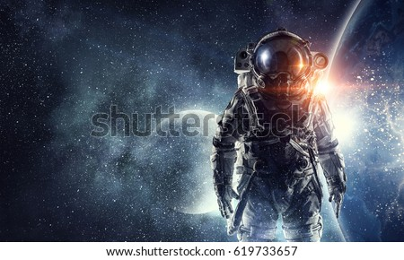 Photo of  Astronaut in outer space. Mixed media . Mixed media