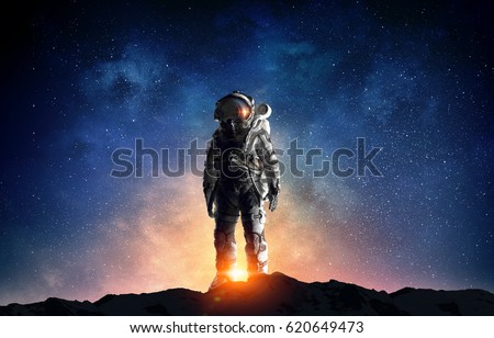 Astronaut in outer space. Mixed media . Mixed media