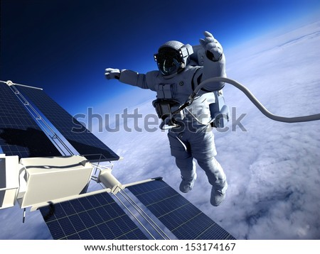 "Astronaut in space around the solar battery. ""Elements of this image furnished by NASA"""