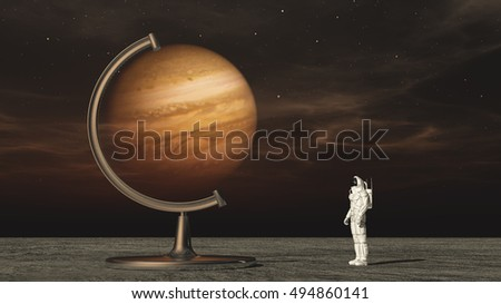 Astronaut in space looking to jupiter globe. This is a 3d render illustration #494860141