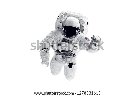 Astronaut in space suit over white background. Elements of this image furnished by NASA
