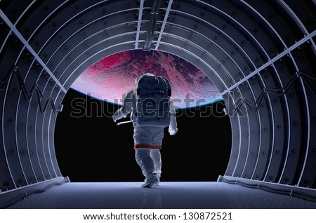 Astronaut in the tunnels of the spacecraft.