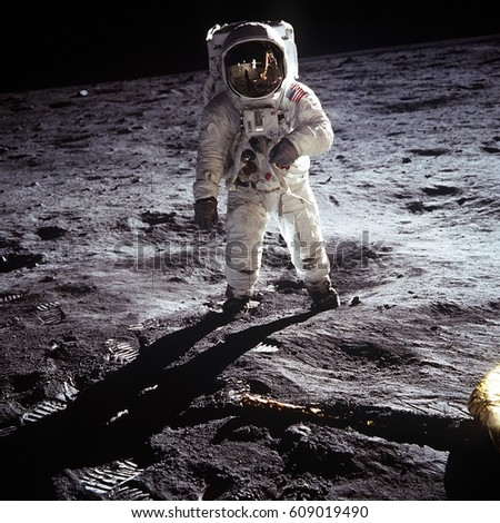 Astronaut landing on moon | Spacewalk on moon | Elements of this image furnished by NASA