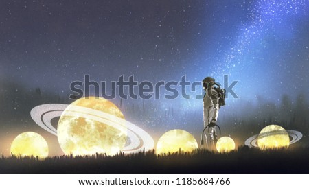 astronaut looking at fallen stars on the grass, digital art style, illustration painting