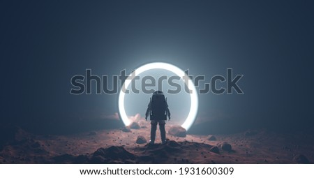 Astronaut on foreign planet in front of spacetime portal light. Science fiction universe exploration. 3D render Foto stock ©