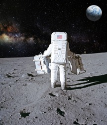 Astronaut on lunar (moon) landing mission. Elements of this image furnished by NASA.