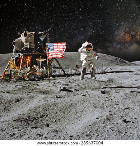 Astronaut on lunar (moon) landing mission. Elements of this image furnished by NASA. #285637004