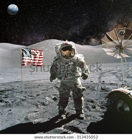 Astronaut on lunar (moon) landing mission. Elements of this image furnished by NASA. #313435052