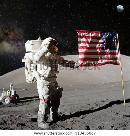 Astronaut on lunar (moon) landing mission. Elements of this image furnished by NASA. #313435067