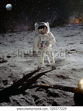 Astronaut on lunar (moon) landing mission. Elements of this image furnished by NASA. #320377229