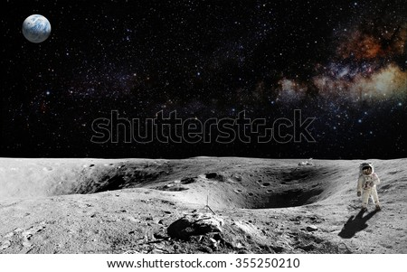 Astronaut on lunar (moon) landing mission. Elements of this image furnished by NASA. #355250210