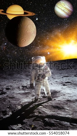 Astronaut on space mission on the Moon. Artist concept. Elements of this image furnished by NASA.