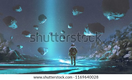 astronaut on turquoise planet with glowing blue minerals, digital art style, illustration painting
