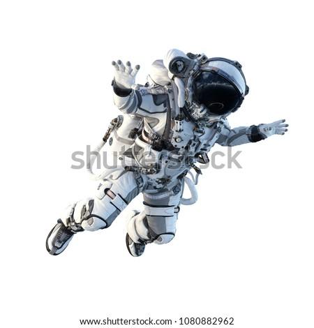 Astronaut on white. Mixed media #1080882962
