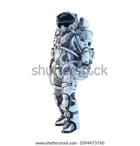 Astronaut on white. Mixed media