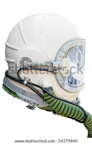 Astronaut/pilot helmet isolated on white. Clipping path included.