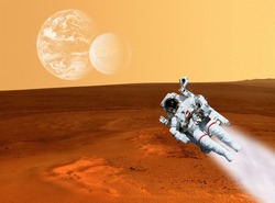 Astronaut planet Mars landscape surface. Elements of this image furnished by NASA.