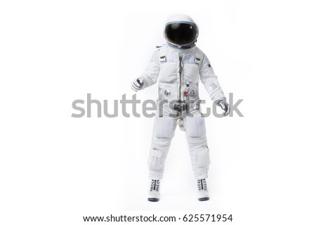 Astronaut pose against isolated background