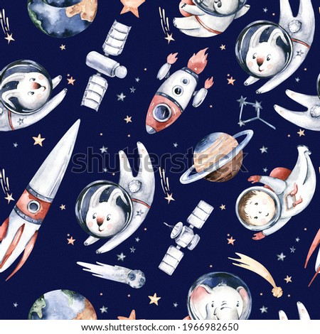 Astronaut seamless pattern. Universe kids Baby boy girl elephant, fox cat and bunny, space suit, cosmonaut stars, planet, moon, rocket and shuttle watercolor space ship background.