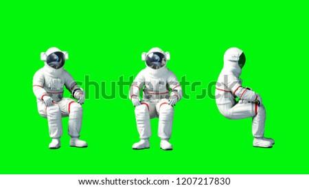 Astronaut sit idlle . Green screen. 3d rendering.